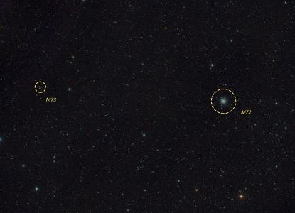Cúmul M 72 i asterisme M 73 amb noms