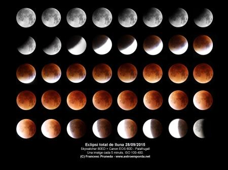 Muntatge de tot l'eclipsi de lluna, una foto cada 5 minuts