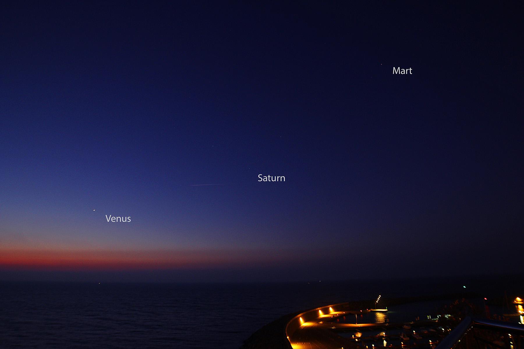 Venus, Saturn i Mart a l'alba