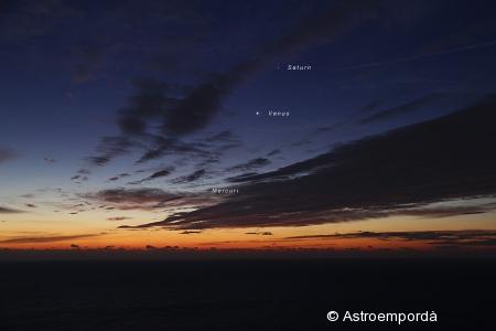 Mercuri, Venus i Saturn