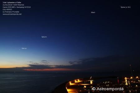 3 de 5 planetes a l'alba (falten mercuri i júpiter)