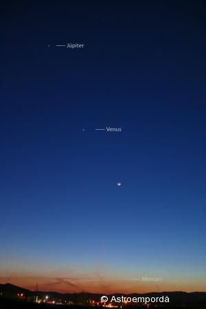 Júpiter, venus, la lluna i mercuri