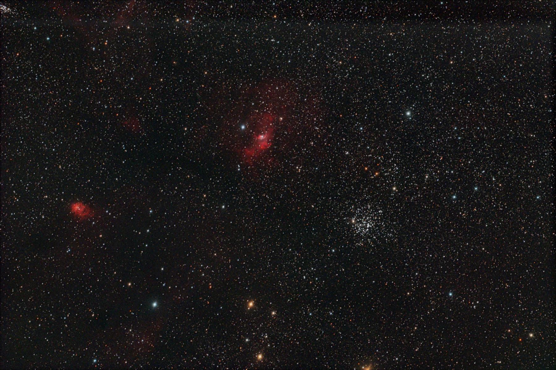 Cúmul M52, nebulosa de la bombolla NGC 7635 i NGC 7538
