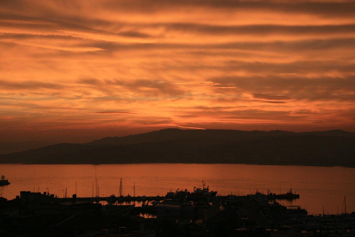 Posta de sol sobre la badia de Palamós