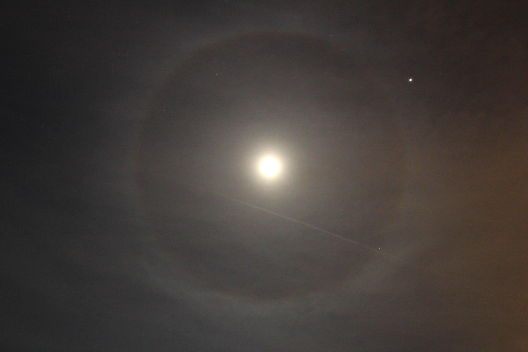 Halo llunar amb Júpiter i Leo