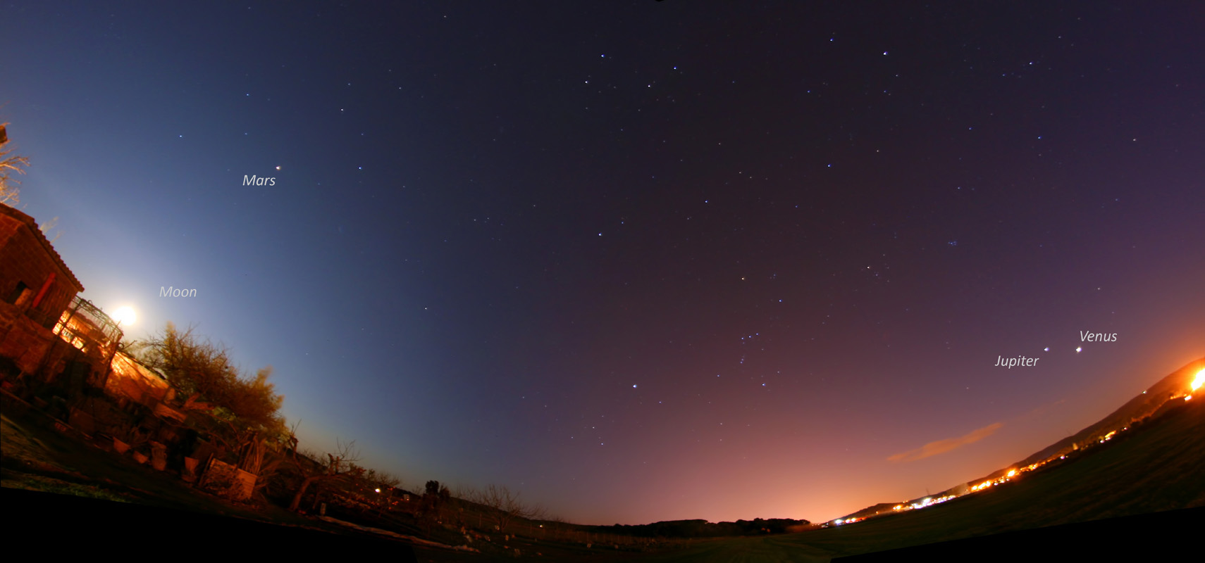 Panoràmica amb la lluna, mart, júpiter i venus