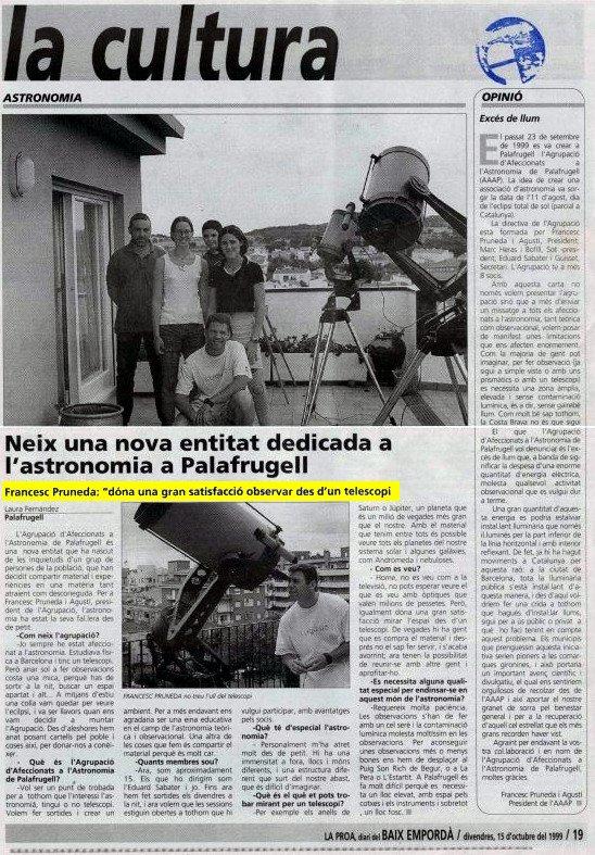Neix una nova entitat dedicada a l'astronomia a Palafrugell.