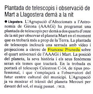 Plantada de telescopis i observació de Mart a Llagostera demà a la nit.