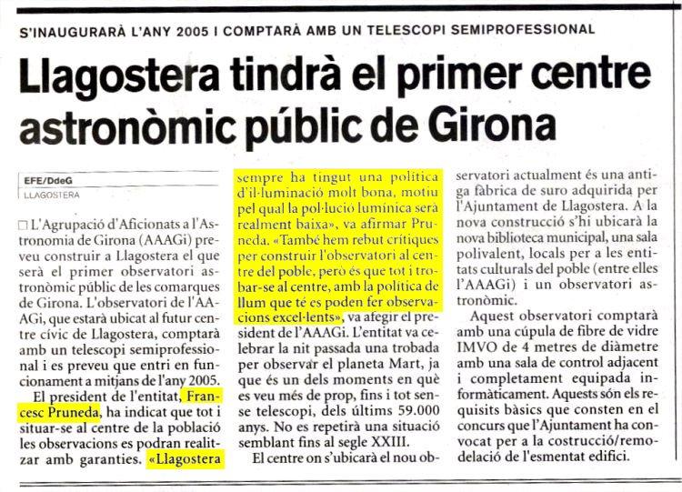 Llagostera tindrà el primer centre astronòmic públic de Girona.