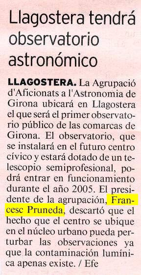 Llagostera tendrá observatorio astronómico.