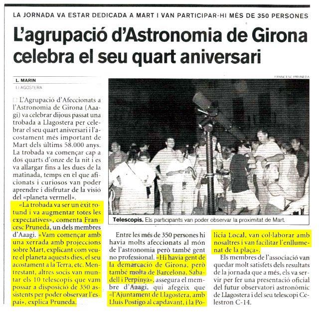 L'agrupació d'Astronomia de Girona celebra el seu quart aniversari.