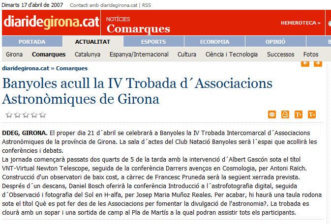Banyoles acull la IV Trobada d\'Associacions Astronòmiques de Girona