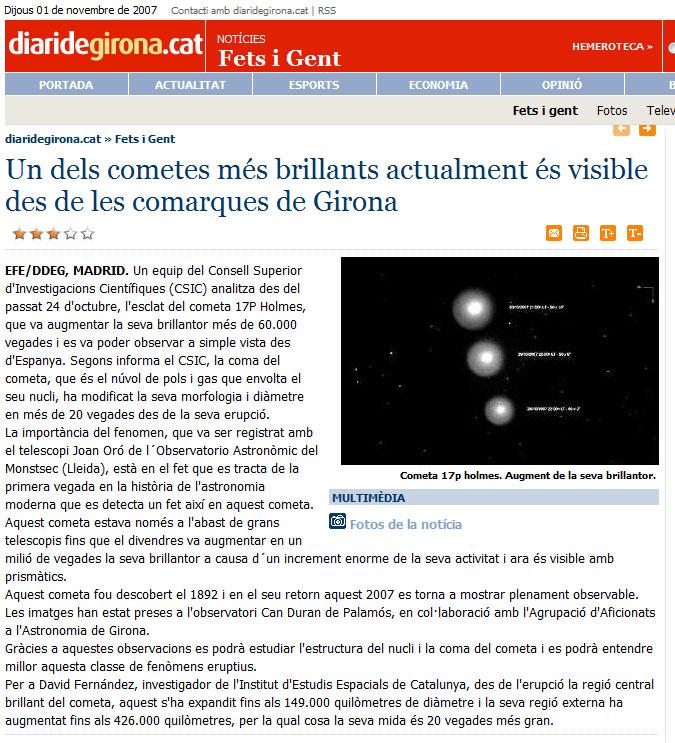 Un dels cometes més brillants actualment és visible des de les comarques de Girona