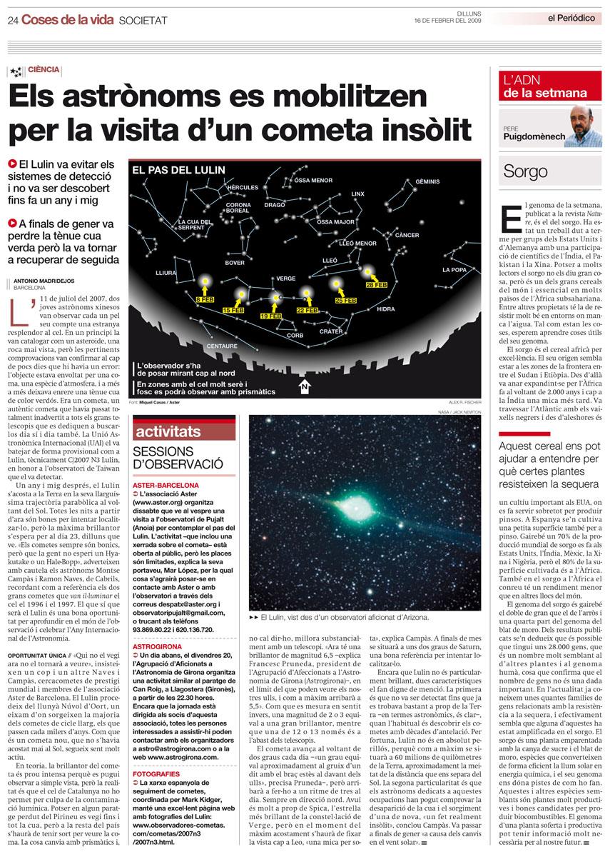 Els astrònoms es mobilitzen per la visita d'un cometa insòlit
