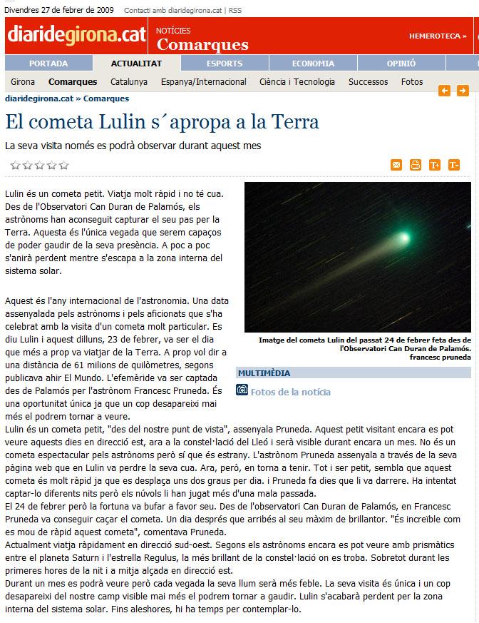 El cometa Lulin s'apropa a la terra