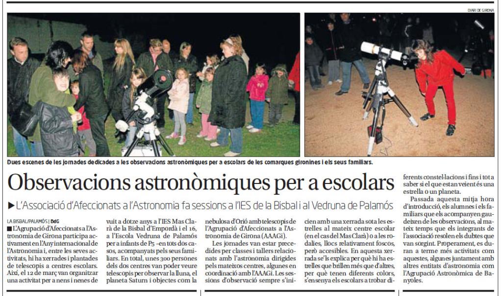 Observacions astronòmiques per a escolars