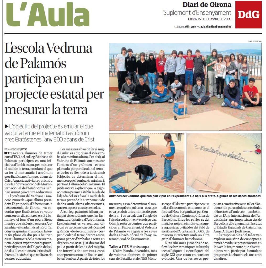 L'Escola Vedruna de Palamós participa en un projecte estatal per mesurar la mida de la terra.