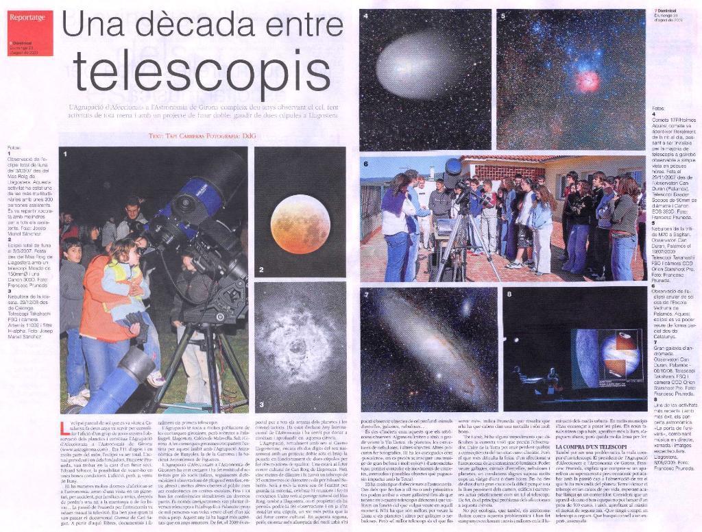 Una dècada entre telescopis