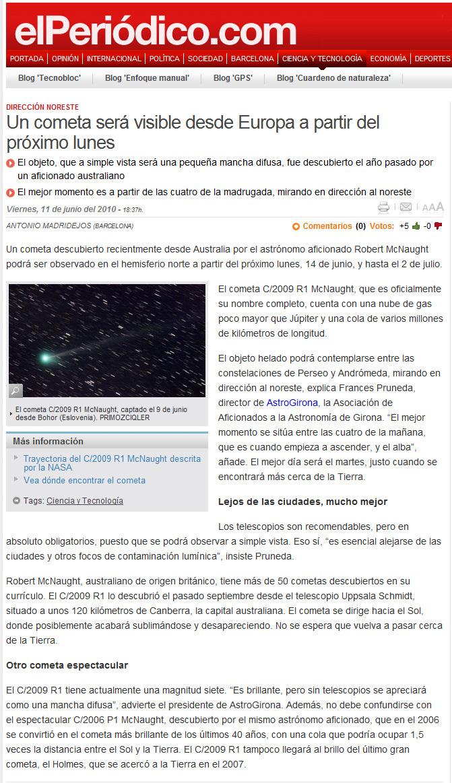 Un cometa será visible desde Europa a partir del próximo lunes
