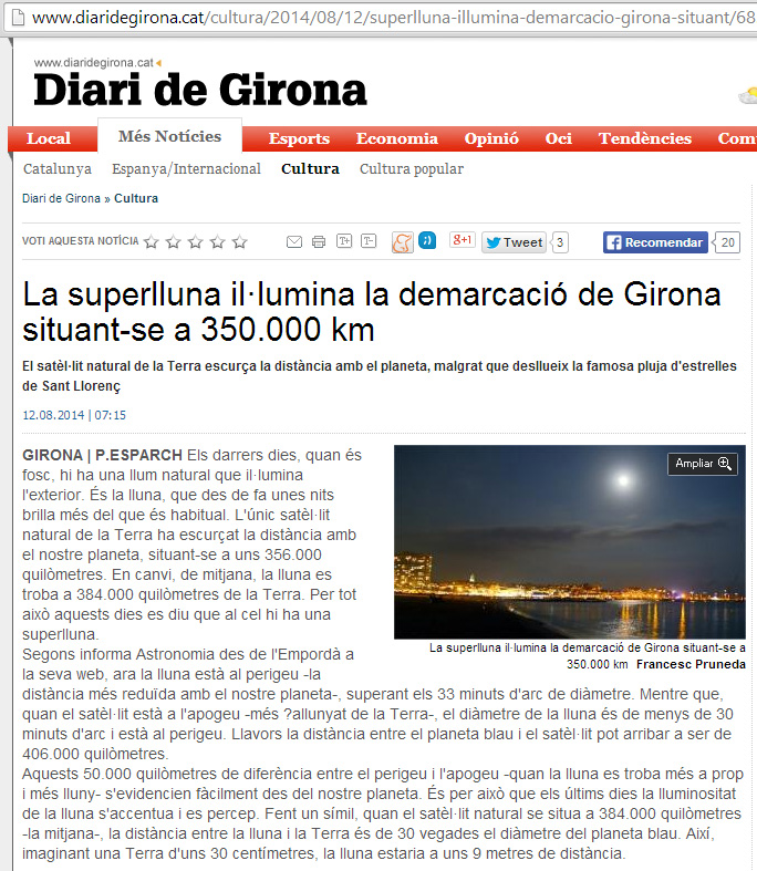 Súperlluna a Diari de Girona