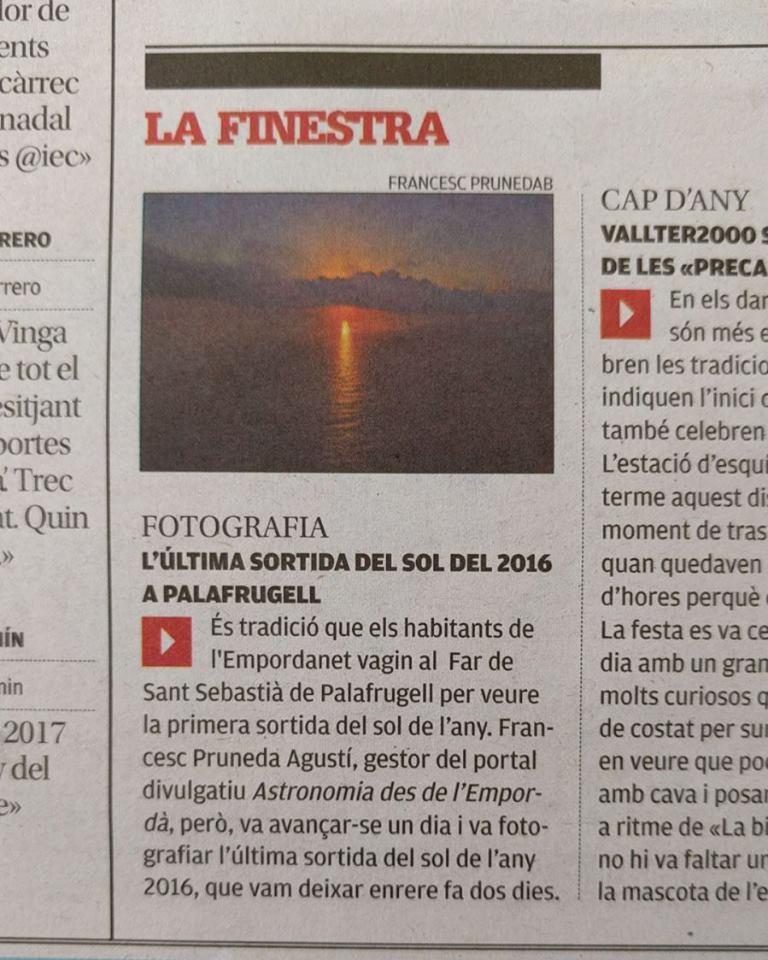 Última posta de sol de 2016 a Diari de Girona