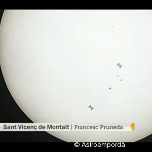 Trànsit de la ISS davant del sol a TV3
