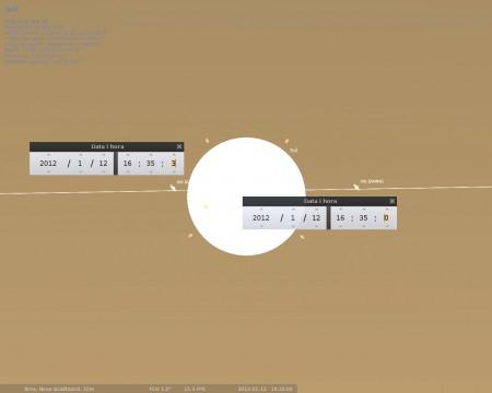 Simulació del pas de la ISS per davant del sol