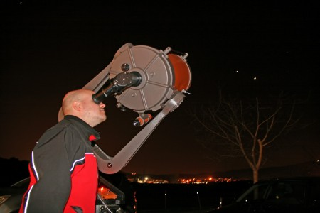Marc Heras observant júpiter pel C14
