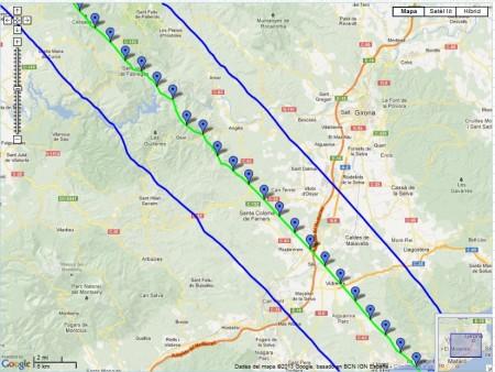 Zona de visibilitat calculada del trànsit de la ISS pel sol de 13/01/2013