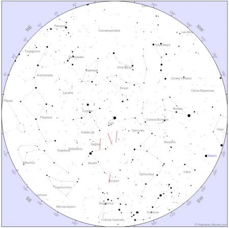 Representació dels meteors capturats sobre planisferi del moment.
