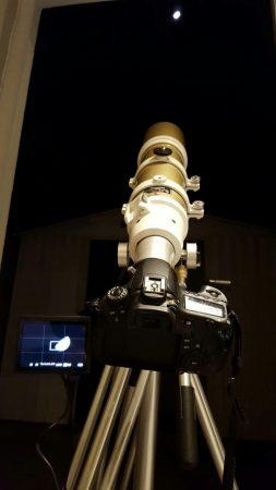 L'equip utilitzat, telescopi Skywatcher ED80 + Canon EOS 60D, disparant a 1600ISO i 1/500 en aquesta ocasió