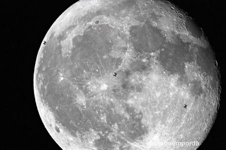 3 imatges del trànsit de la ISS per la lluna