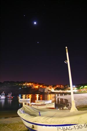 Júpiter, la lluna i venus des de Llafranch