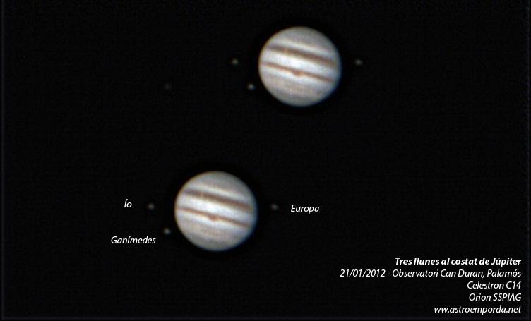 Júpiter amb 3 llunes: Ío, Europa i Ganímedes